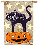 Cheap Evergreen Halloween Cat Burlap House Flag, 28 x 44 inches
