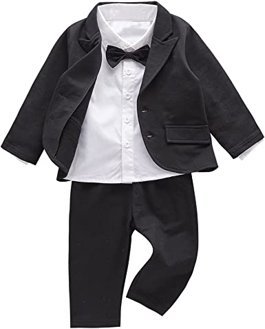 Mays Baby Boys Blazer Long Sleeves Shirts Pants Gentleman Suit 3 Pieces Sets