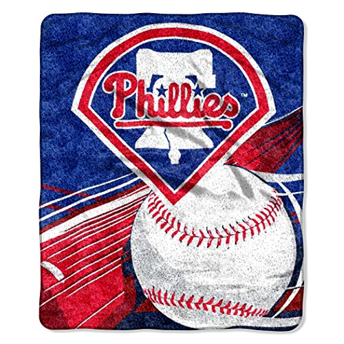 Officially Licensed MLB Philadelphia Phillies Big Stick Sherpa Throw Blanket, 50