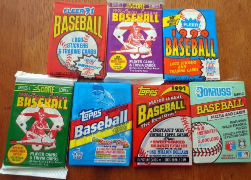 1992 Upper Deck Rookie Card - Over 100 Vintage Baseball Cards Lot In Sealed Unopened Wax Packs Including 1991 and 1992 Topps. Look for the Chipper Jones Rookie card