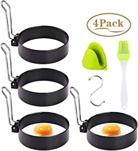 Egg Ring Mold Stainless Steel Non-Stick Metal Circle Shaper Round Egg Cooker Rings Maker Set for Frying McMuffin Shaping Eggs,Sandwiches with Free Silicone Brush, S-shaped hook,Oven Glove (4 Pack)