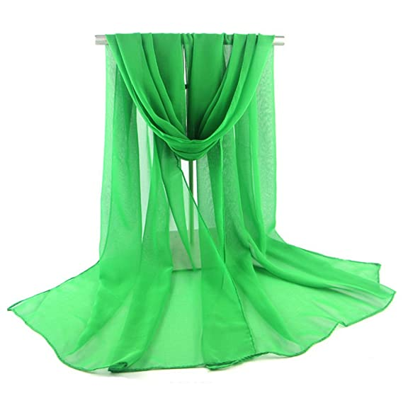 cc1e1f96eaf6 Westeng Foulards en Mousseline de Soie Echarpe Coloré Foulard Douce pour  Femme Vert 170   50