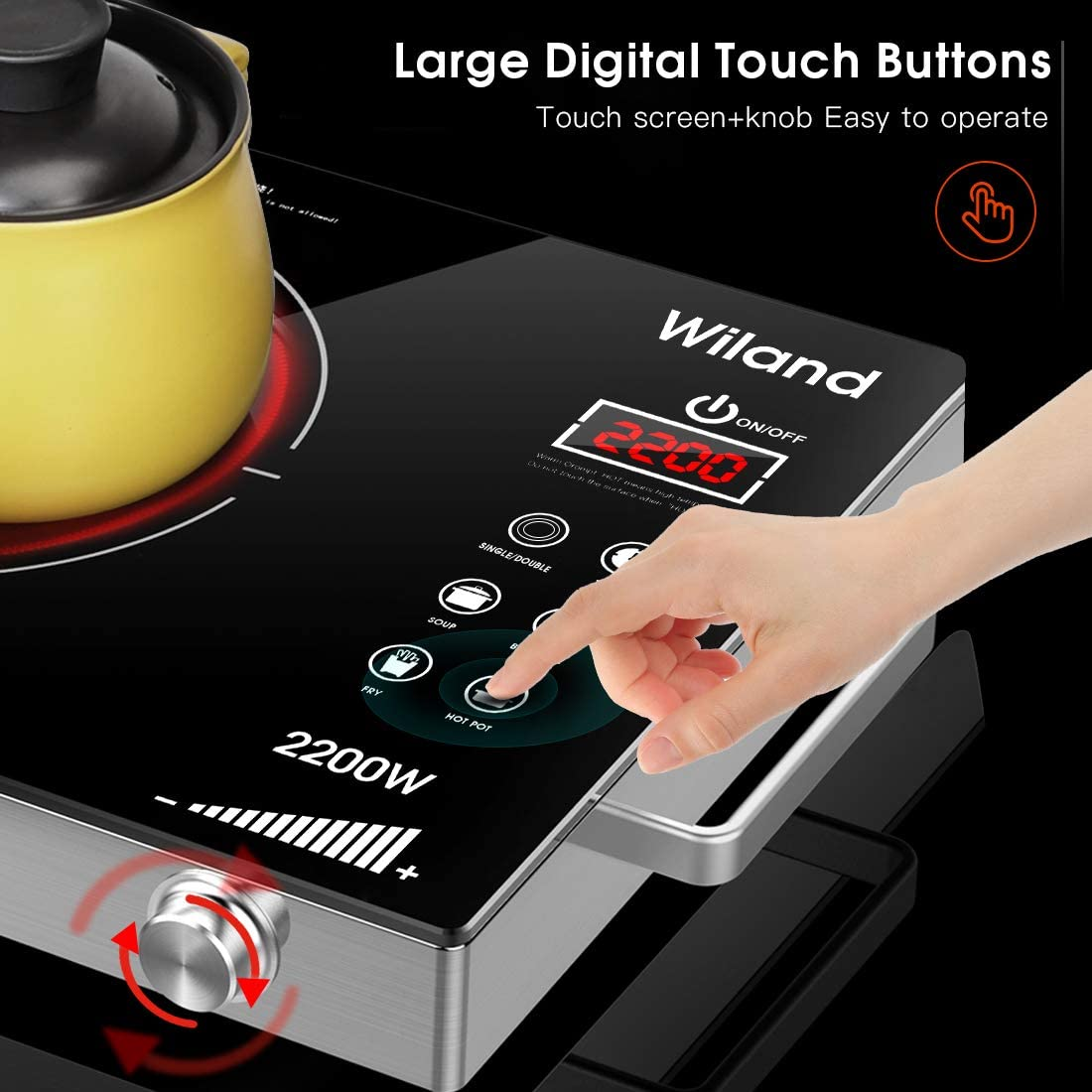 Smart Touch Sensor Electric Ceramic Cooker Glass Plate Cooktop with Timer Temperature Control Compatible For All Cookwares,Black KAUTO Portable Induction Stove Countertop Burner