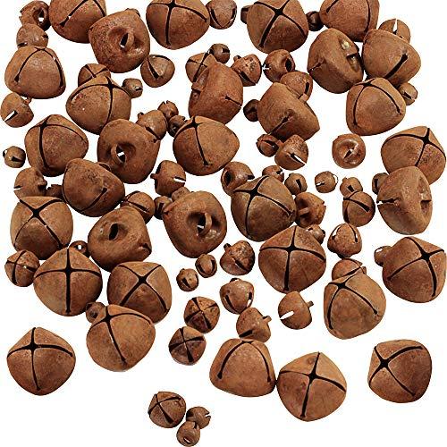 90 Pcs Rustic Jingle Bells Tiny Rusted Bells DIY Primitive Jingle Bell Holiday Decorated Rusty Mental Bells Seasonal Mini Jingle Bell 6mm 9mm 18mm for Crafts Christmas Tree Ornament Country Wedding Ho