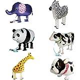 Signstek ウォーキング 動物アルミバルーン 6種類セット  誕生日 パーティー装飾や子供のプレゼントに最高 (ホワイト)
