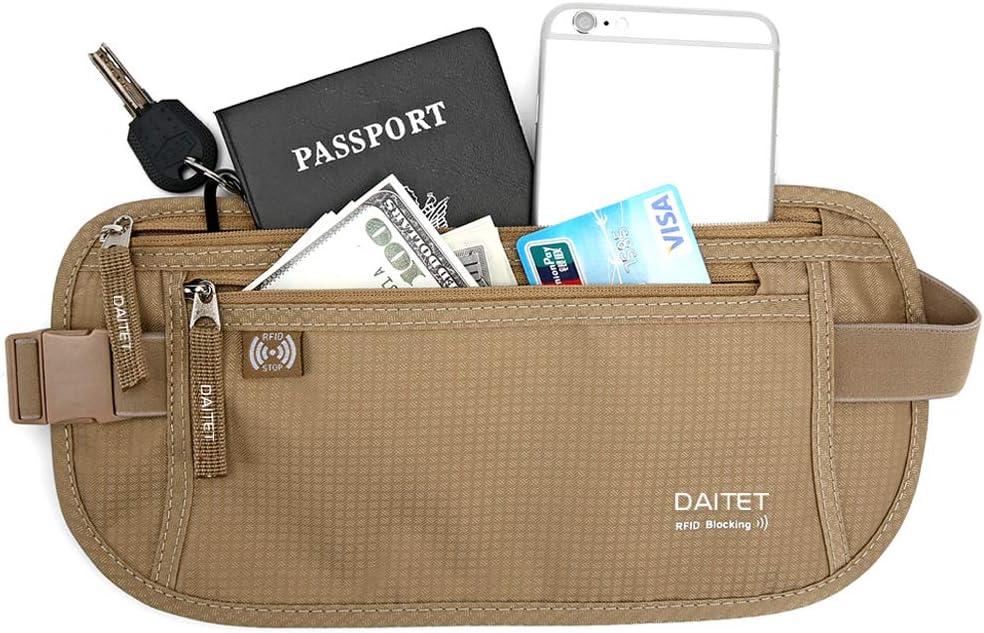 Beige Travel Money Belt Passport Holder Secure Hidden with RFID Block for men women Sport Hiking Travel Wallet for Keeping Your Cash Credit Card Passport Phone Safe When Traveling