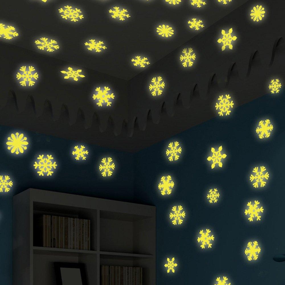 geshiglobal Adesivi murali a soffitto con Fiocchi di Neve Luminosi Decorazioni Natalizie per la casa Fai da Te Confezione da 50 Pezzi Bianca