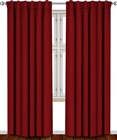Curtains Ideas burgundy color curtains : Amazon.com: Blackout, Room Darkening Curtains Window Panel Drapes ...