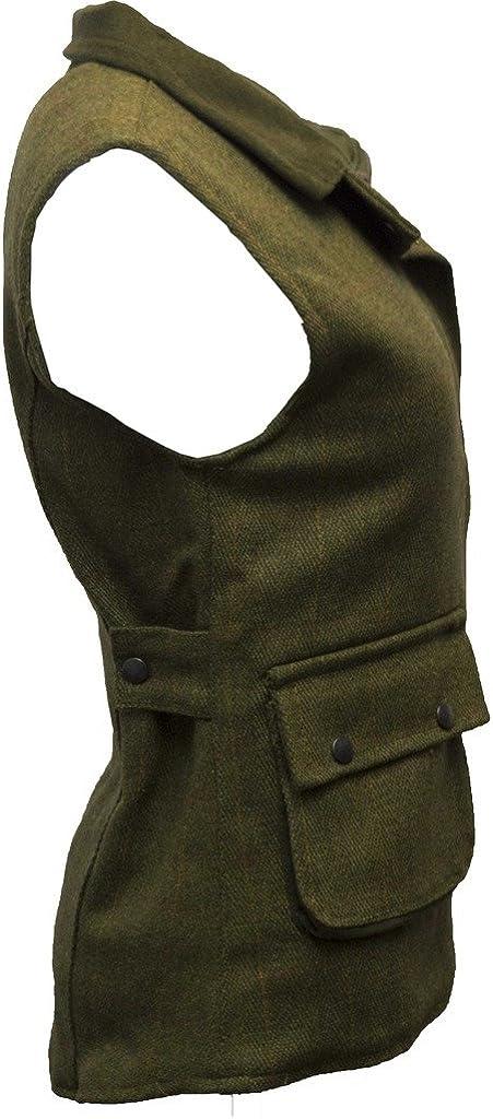 Veste sans Manches Derby Chasse//Campagne pour Femme Walker /& Hawkes Tweed Sauge fonc/é