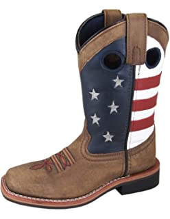 Smoky Mountain Youth Boys Stampede Brown//Black Leather Cowboy Boots