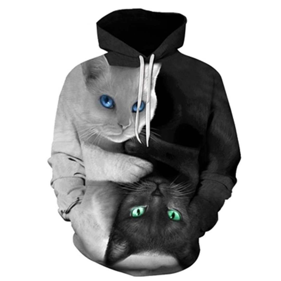 Cute Yinyang Cat 3D Galaxy Cats Sweatshirt Cool Wolf/Lions/Tiger Pullovers by MSYI (Image #1)