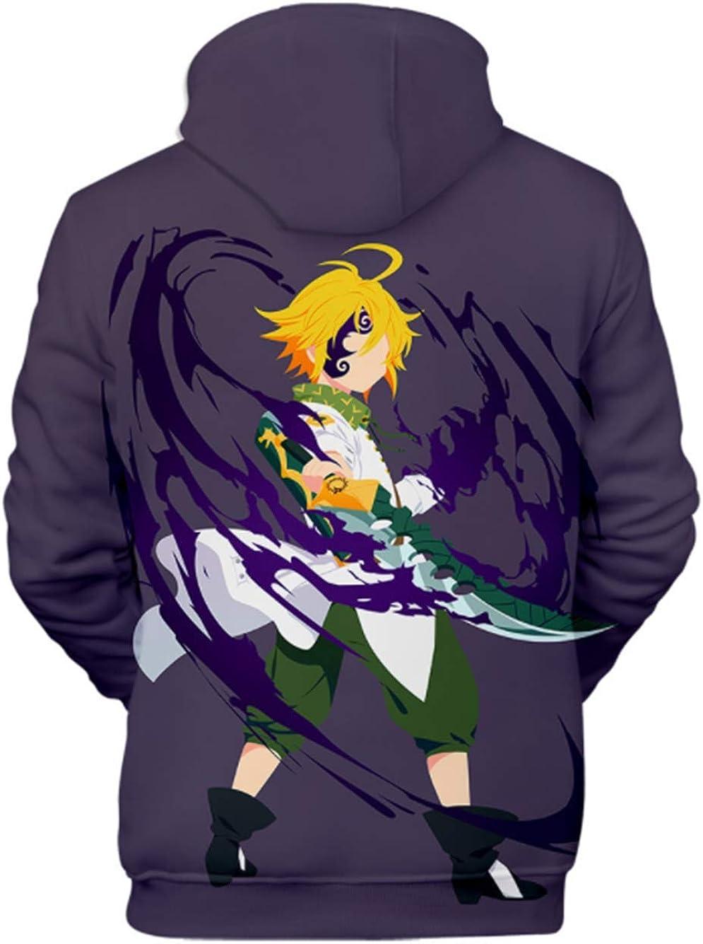 Cosstars Anime Nanatsu No Taizai The Seven Deadly Sins Hoodie Sudadera con Capucha Cosplay Disfraz 3D Impreso Pullover Su/éter con Bolsillos Cord/ón