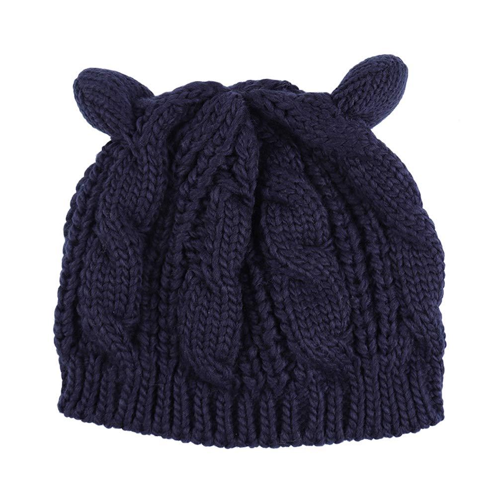 Clispeed Cappello Berretto Invernale per Berretti a Maglia Cappello Berretto Invernale per Ragazze (Blu Navy)