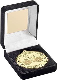 Lapal Dimension en Velours Noir Médaille Boîte et 50mm Médaille de Cyclisme Trophy–Argent–3,5en