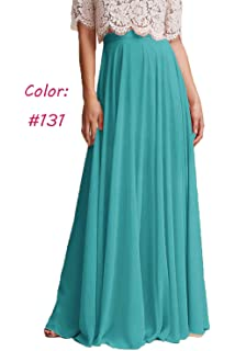 b4de9c2aad Honey Qiao Women's Chiffon Maxi Skirt Bridesmaid Dresses Long High Waist  Floor/Ankle Length Elastic