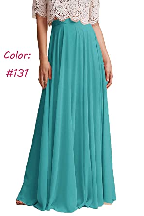 d51c2d58d8 Honey Qiao Chiffon Bridesmaid Dresses High Waist Long Woman Maxi Skirt Aqua