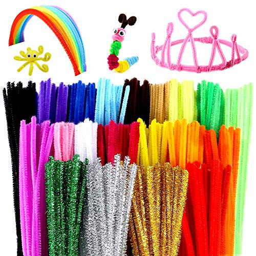 Caydo 500 Pieces Chenille Stems Pipe Cleaners 6 mm x 12 Inch for DIY Art