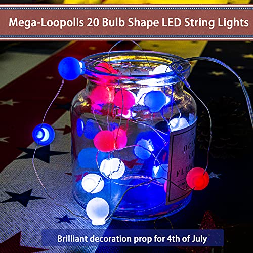 LOLStar 4th of July String Lights Red White Blue Fairy String Lights 7.38ft 20 LEDs Bulb Shape Waterproof Battery Operated Patriotic Decor for Independence Day,Memorial Day,Flag Day Patriotic Party