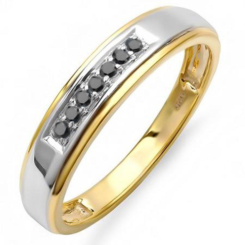 0.12 carat (quilate) 18 K oro amarillo chapado en plata de ley negro diamante hombres de 7 Piedra Boda Banda: Amazon.es: Joyería