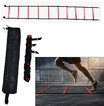 GOTOTOP Escalera de agilidad de 5 m, 10 peldaños, flexibilidad, velocidad de entrenamiento, escalera de salto para fútbol, rojo: Amazon.es: Deportes y aire libre
