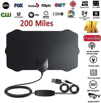Laduup - Antena de TV HD, 1080P HD 60 Miles de Alcance, Antena Digital HDTV, Antena de Interior HDTV para Todos los Tipos de Home Smart TV: Amazon.es: Electrónica
