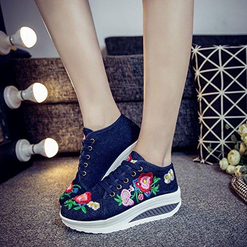 Fanwer Womenss Tissu Brodé Tonetm Skylar Plate-forme Wedge Chaussures De Marche Chaussures Bleu