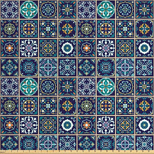 (Lunarable Mosaic Fabric by The Yard, Portuguese Azulejo Moroccan Culture Ceramic Tiles European Oriental, Decorative Fabric for Upholstery and Home Accents, 3 Yards, Purple Teal Yellow)