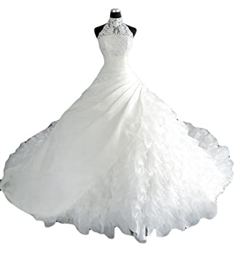 MILANO BRIDE Luxury Bridal Wedding Dress Halter Ball Gown Applique ...