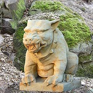 Jardín sueño Grimm Papelera Gargoyle Figura con perro–Rex, Antikgrau, 30x30x45cm (LxBxH)