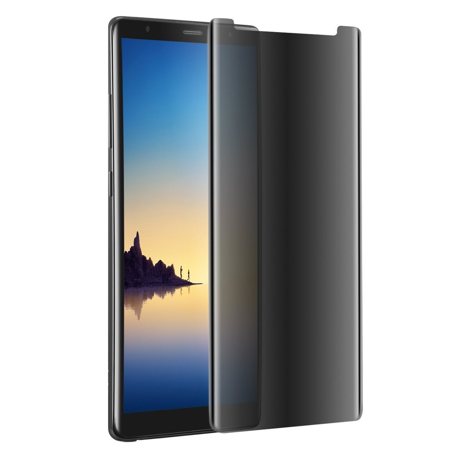 Galaxy Note 8 Tempered Glass Screen Protector, Maxsoco Privacy Case Friendly 3D Curved Edge Bubble-Free Easy to Apply Anti-Spy for Samsung Galaxy Note 8 (Transparent)