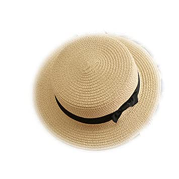 Sun Ribbon Round Flat Top Straw Panama Hat Summer Hats for Women Straw Hat Sun Hats
