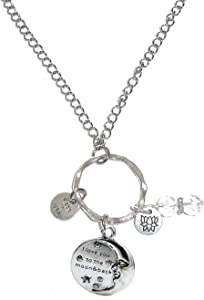 Rear View Mirror Car Charm Ornament, Sun Catcher, Hanging Pendent, Stainless Steel Chain and Crystal Accents, Packaged in a Gift Box (I Love You to The Moon and Back)