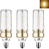 Rayhoo E12 Base LED Bulb Candelabra LED Bulbs 15W, Incandescent 100-120W bulb Equivalent, AC 85-265V, Non-dimmable, Warm White 3000K, 3 Pack (Extremely Bright)