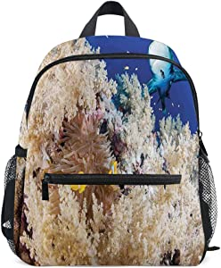Kids Backpacks School Book Bag,Reef with Little Clown Fish and Sharks East Egyptian Red Sea Life Scenery