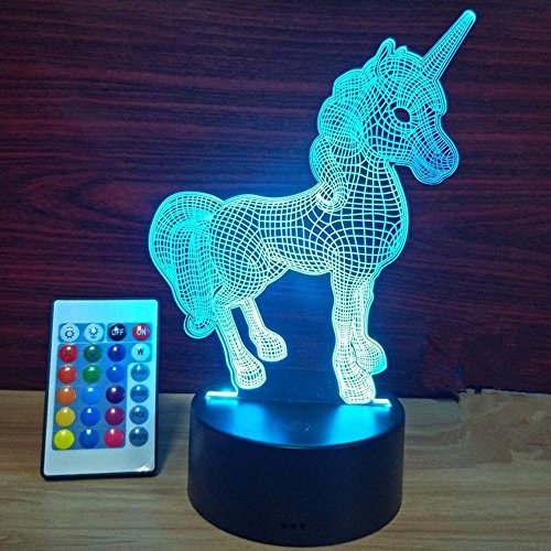 Xmeilo 16 LED Color 3D Illusion Platform Night Lighting Touch Switch Table Desk Decor LED Lamp with Remote Control Unicorn