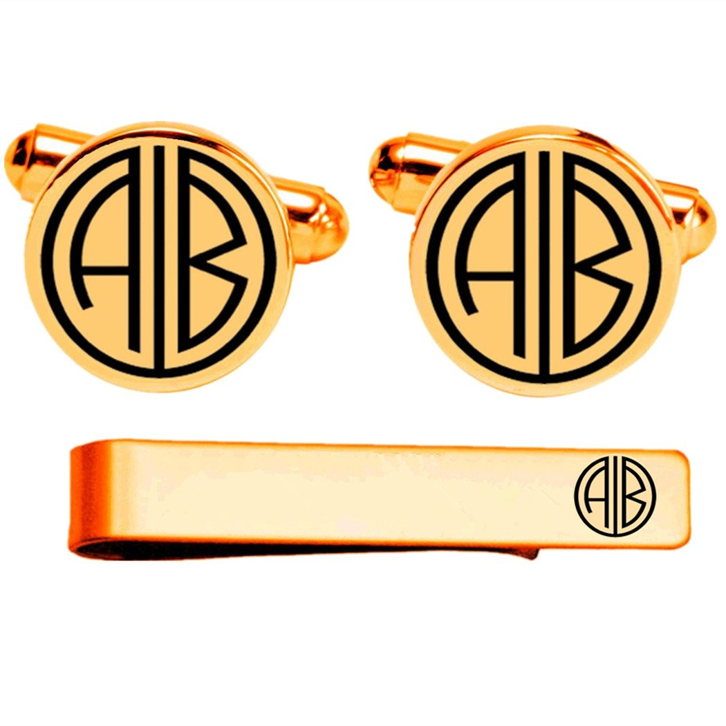 Kooer Engraved Monogram Cuff Links For Great Gatsby Style Custom Personalized Wedding Cuff Links (Gold plated cufflinks & tie clip set)