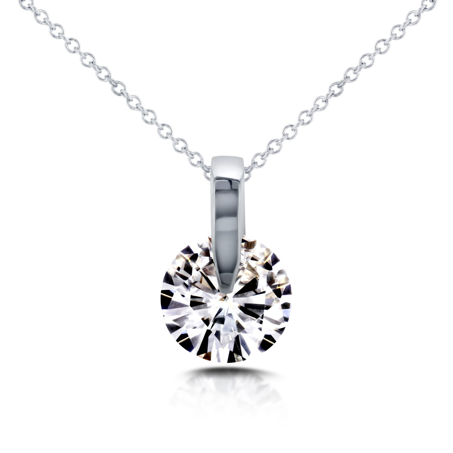 Near-Colorless (F-G) Moissanite Wheel Solitaire Necklace 1 7/8 CTW in 14k White Gold