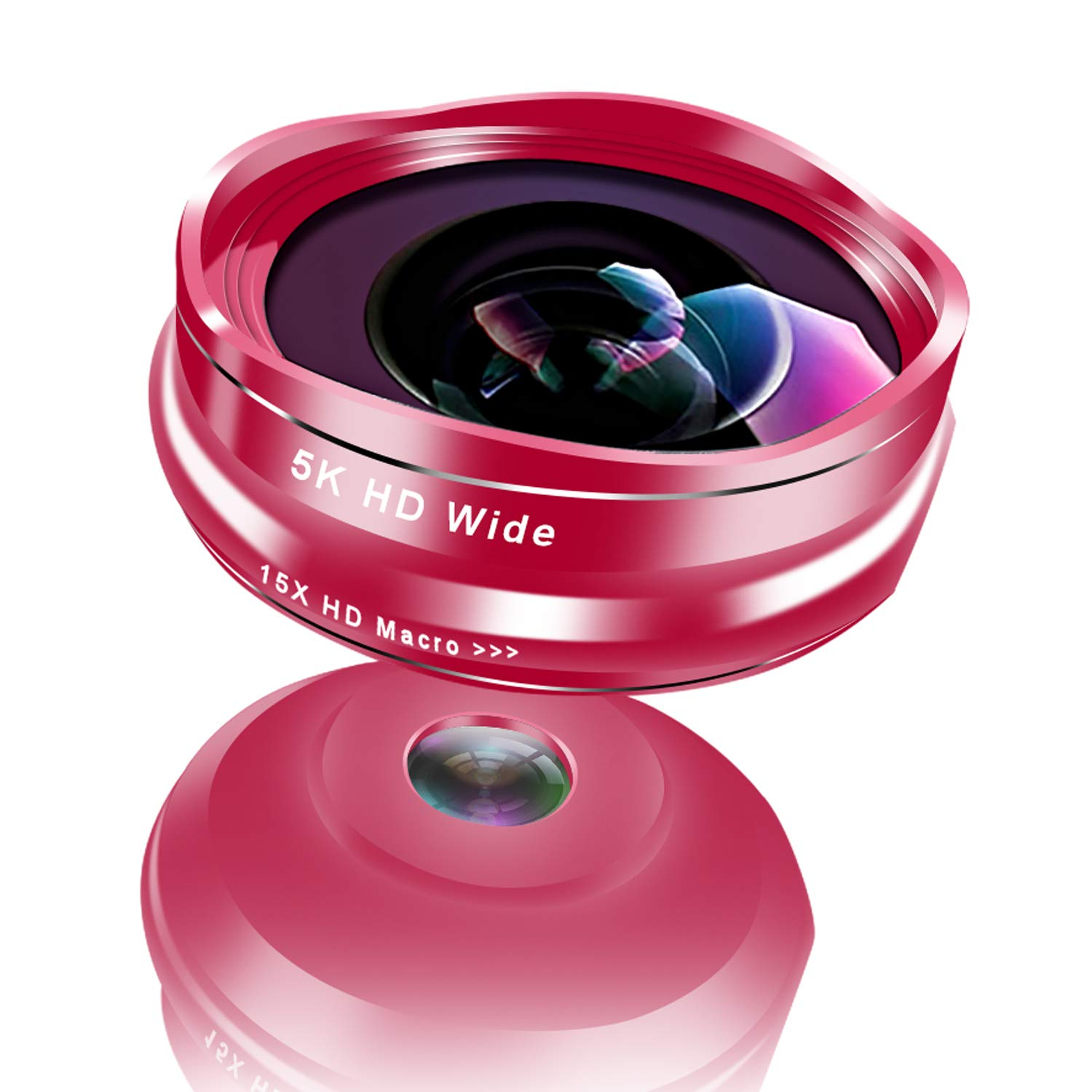 QinCoon Flower Bud Phone Lens, 0.45X Wide Angle & 15X Macro Lens, 2 in 1 Clip-On 5K HD Cell Phone Camera Lens for iPhone, Samsung Galaxy, Android Smartphones, No Distortion (Rose Gold)