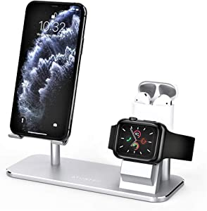 ATUMTEK 3 in 1 Cell Phone Stand, Stand Charging Dock Compatible with Apple Watch and AirPods, Adjustable Desktop Stand for iPhone, Apple Watch 4/3/2/1/ 44/42/40/38mm, AirPods 1/2/Pro, iPad and More
