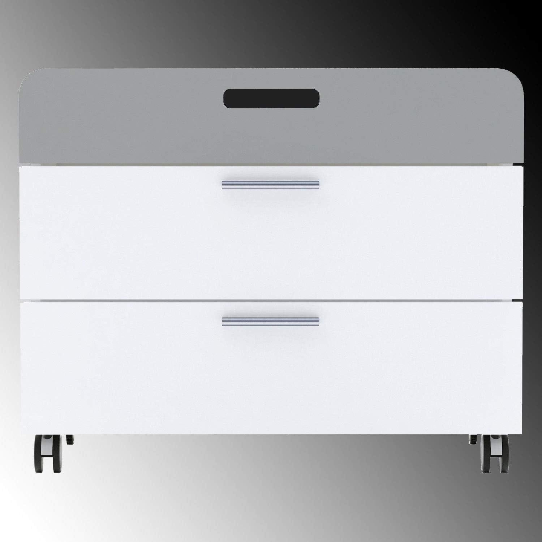 habeig Kommode auf Rollen wei/ß grau mit 3 Schubladen Kinderschrank Schrank
