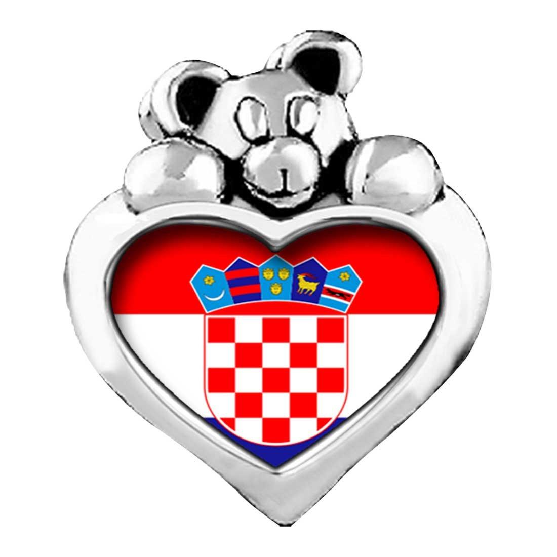 Croatia flag Purple Amethyst Crystal February Birthstone I Love You Heart Care Bear Charm Beads Bracelets GiftJewelryShop