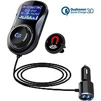 """SONRU Transmetteur FM Bluetooth, Deux Ports USB (QC3.0 + 5 V/1 A), Lecteur MP3 de Voiture Mains Libres Bluetooth Car Kit Adaptateur Audio Radio sans Fil, 1.44"""" LCD écran, A2DP Cristal Qualité de Son"""