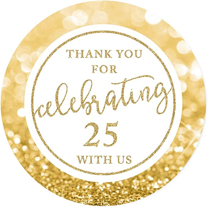 25th Anniversary Stickers \u2022 Personalized Anniversary Labels \u2022 Silver Sparkly Anniversary Sticker