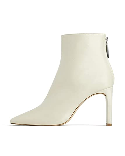 b706b37f6d70 Zara Women s Leather Ankle Boots with Block Heels 1126 001 Off-White ...
