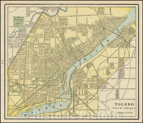 Historic Map | Toledo, 1892, George F. Cram | Vintage Wall Art 24in x 20in Cram 1892 Antique Map