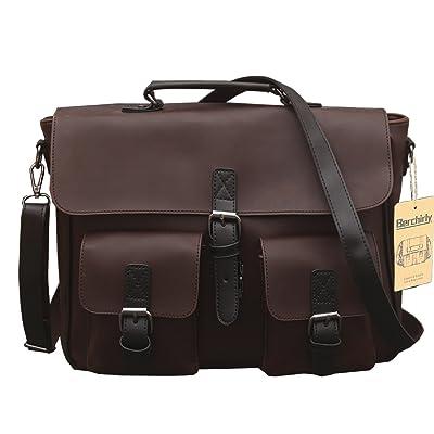 Berchirly Large Capacity Casual Men PU Leather Backpack Messenger Shoulder bags Daypack Handbag outlet