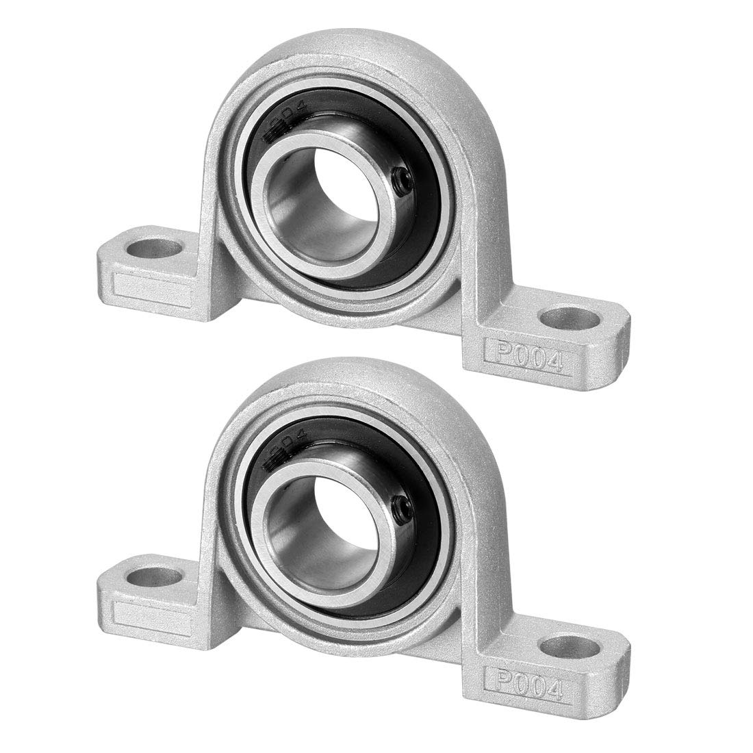 uxcell KP004 Pillow Block Bearing Zinc Alloy//Chrome Steel Set Screw Lock 20mm Bore Diameter Pack of 2