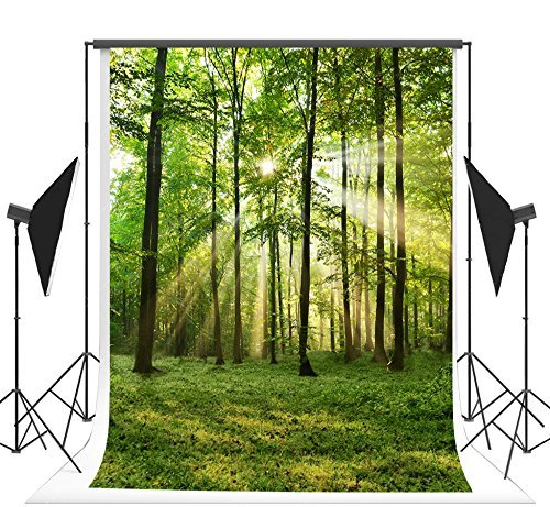 TMOTN 10x10ft Nature Forest Photography Backdrop Vinyl Photo Background Sunshine Grass Scene Studio Props D1568 ()