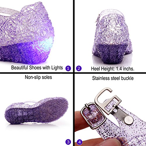 aa2a5164423 Omgard LED Princess Girls Fancy Dress up Cosplay Jelly Shoes Kids Toddler  High Heels Sandals (