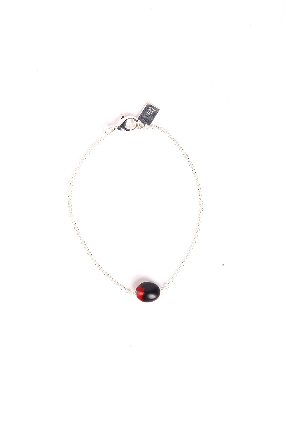 Eco Friendly Peruvian Gift Bracelet for Women - Huayruro Red Black Seed, Silver Beads - Natural Handmade Jewelry by Evelyn Brooks